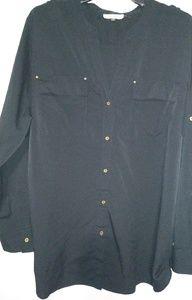 Calvin Klein Black Silky Blouse Top 1X Plus